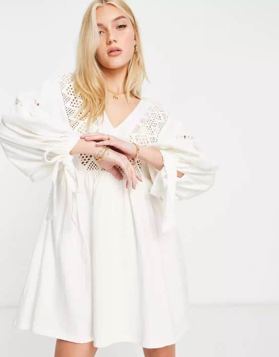 ASOS DESIGN mini dress with volume sleeves and embroidery neckline