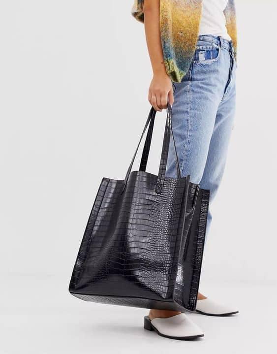 ASOS DESIGN croc shopper with laptop compartment