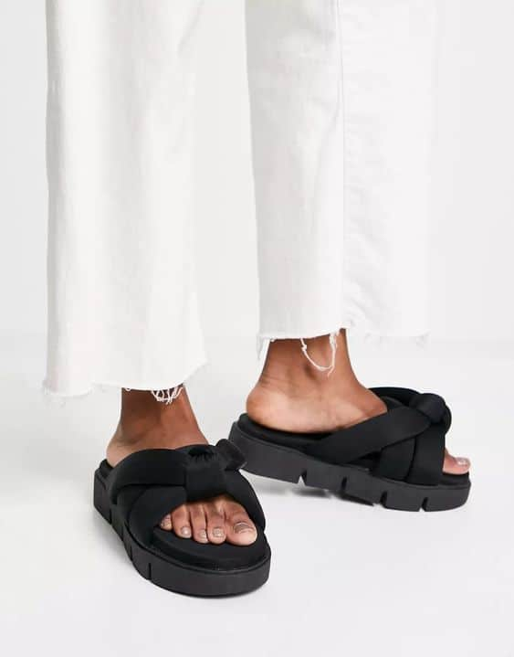 Fascinated Chunky Padded Mules in Black ASOS