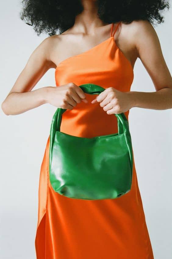 Green Soft Leather Bucket Bag Zara