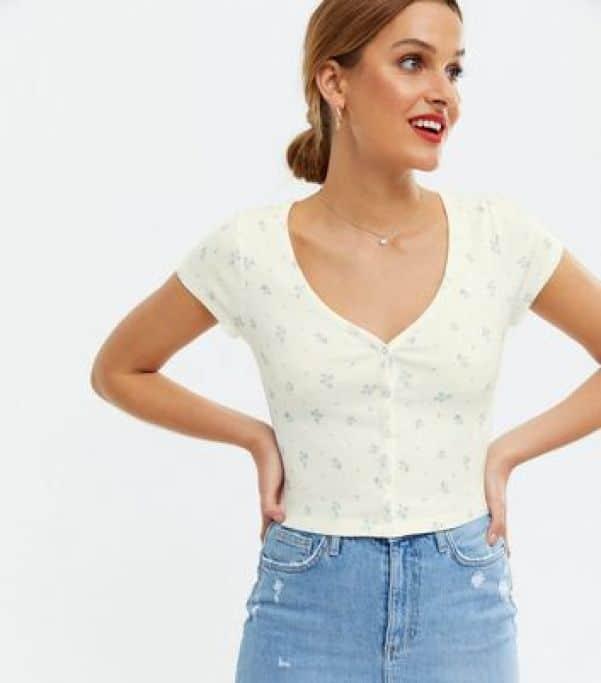 White Ditsy Floral Button Front Crop T-Shirt New Look