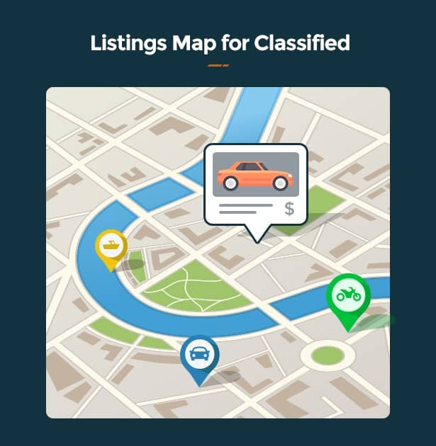 Motors WordPress Theme for Car Dealer, Rental & Classifieds site listing map