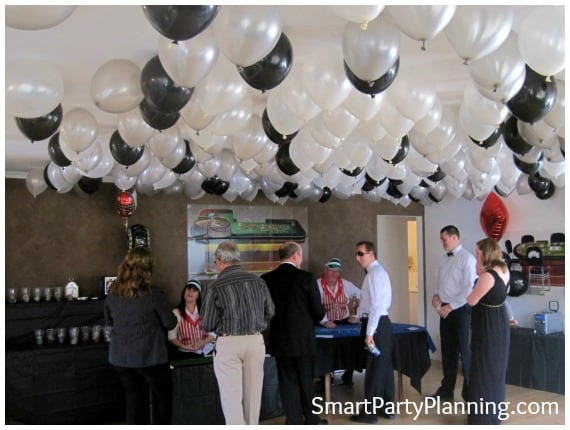 Black and silver helium balloons