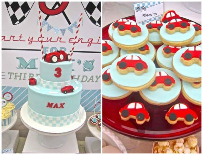 Racing car cake and cookies