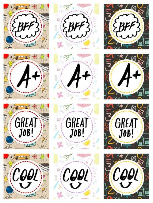 School sign back to school labels