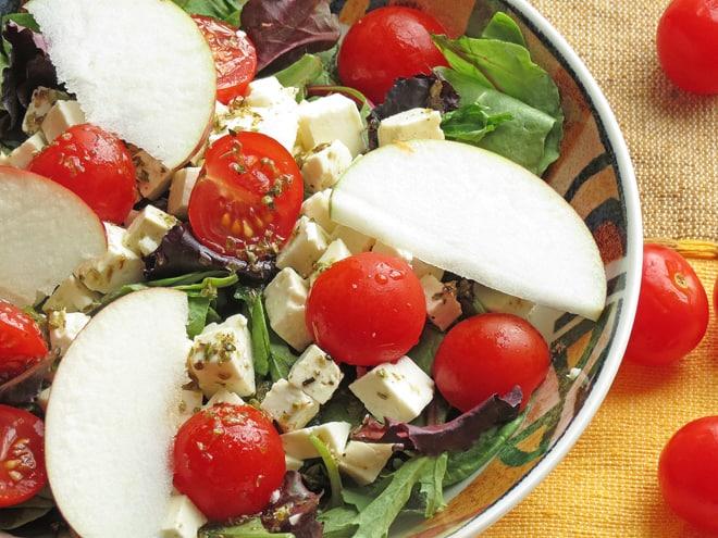 Close up of apple feta salad ingredients