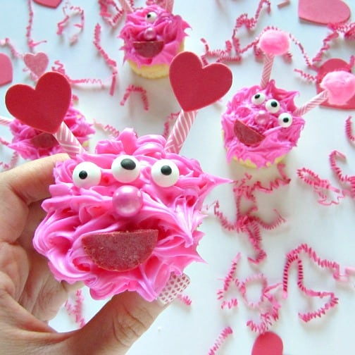 Three eyed love monster cupcakes