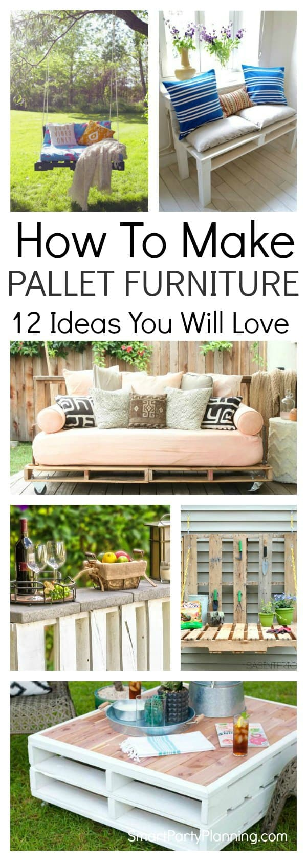 Collage of how to make pallet furniture