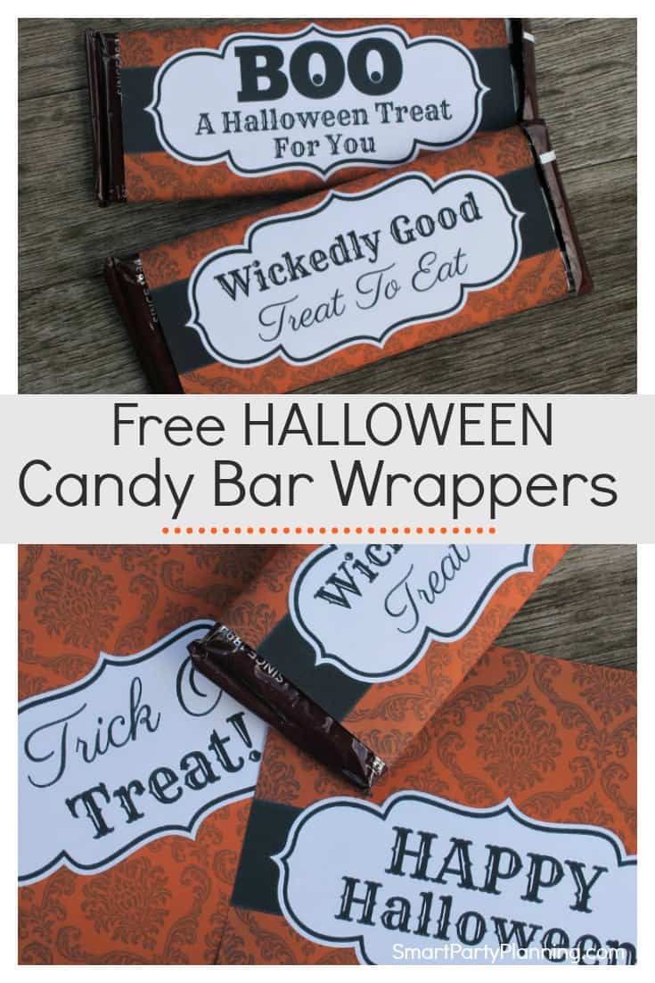 Free printableHalloween candy bar wrappers that are to be a sure huge hit with the young and old.Use them as party favors, or for trick or treater's Halloween gifts. There are four fun designs that are available as an instant download.This is the perfect solution to fill up those Halloween treat bags!