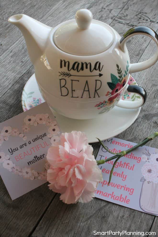 Printable love affirmations with a tea pot set