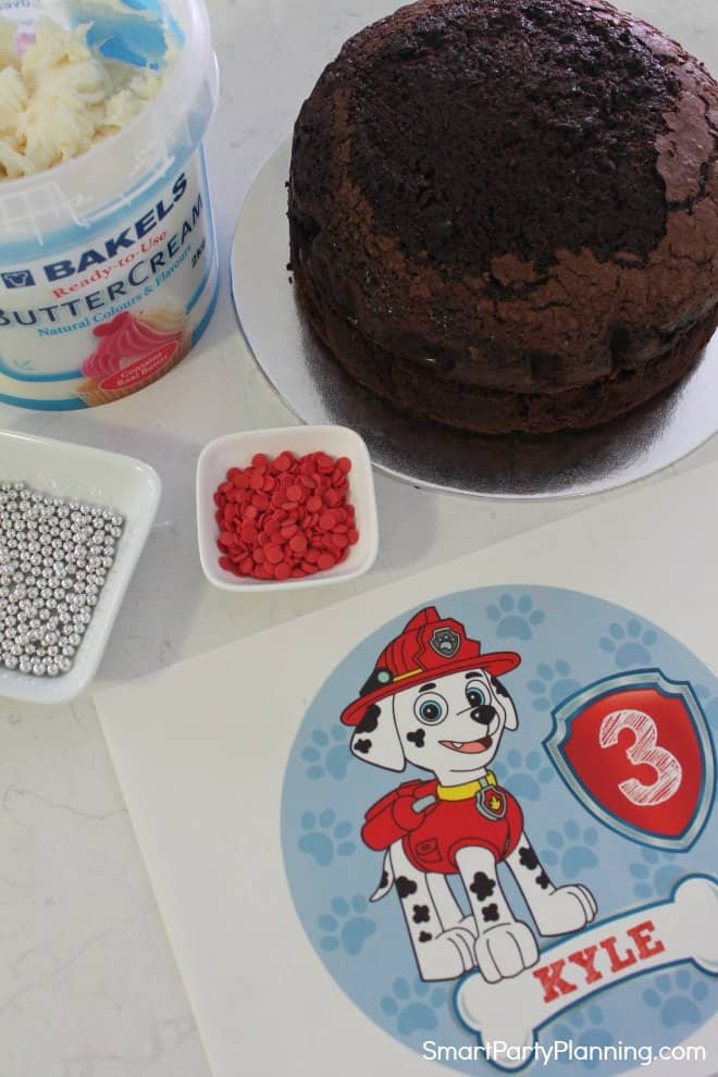 Items needed to make a paw patrol cake