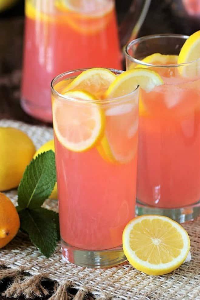 Glass of pink lemonade