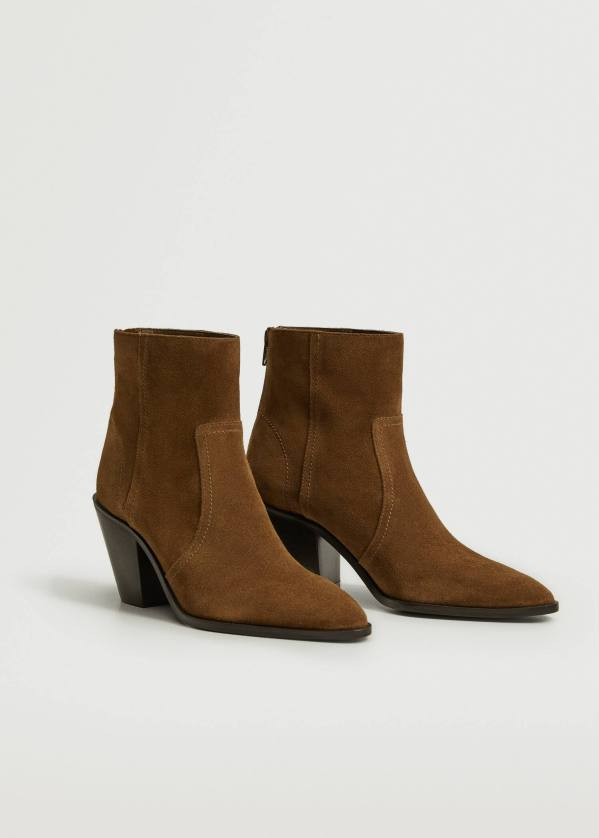 Leather western ankle boots - Mango