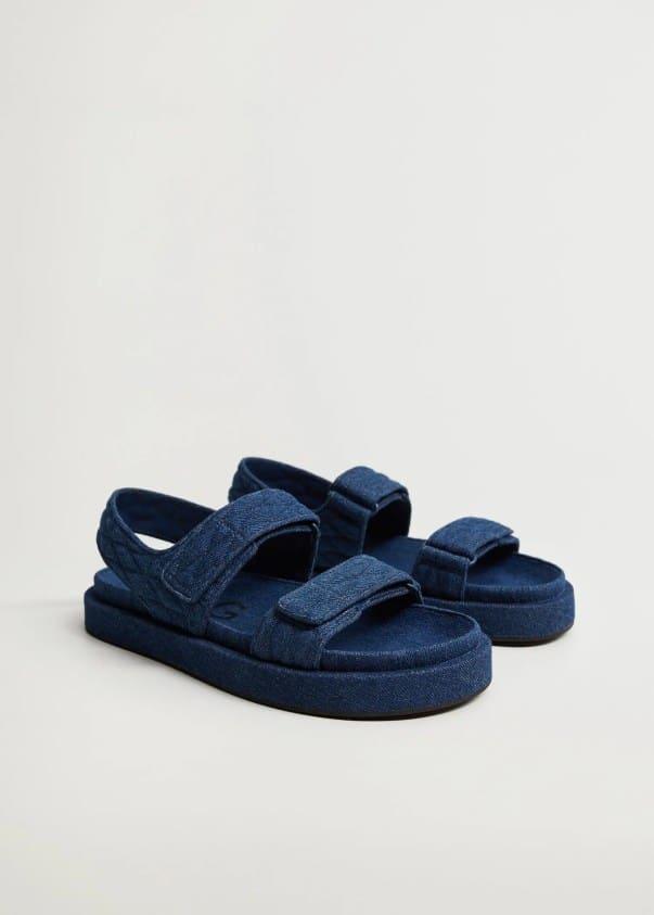 Denim cotton sandals - Mango
