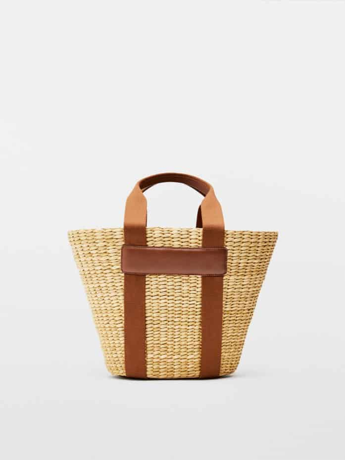 Basket Bag With Leather Details, £99.95, Massimo Dutti