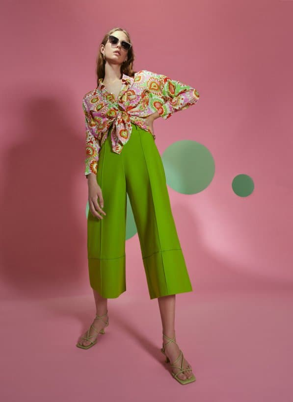 GREEN COTTON TROUSERS uterque