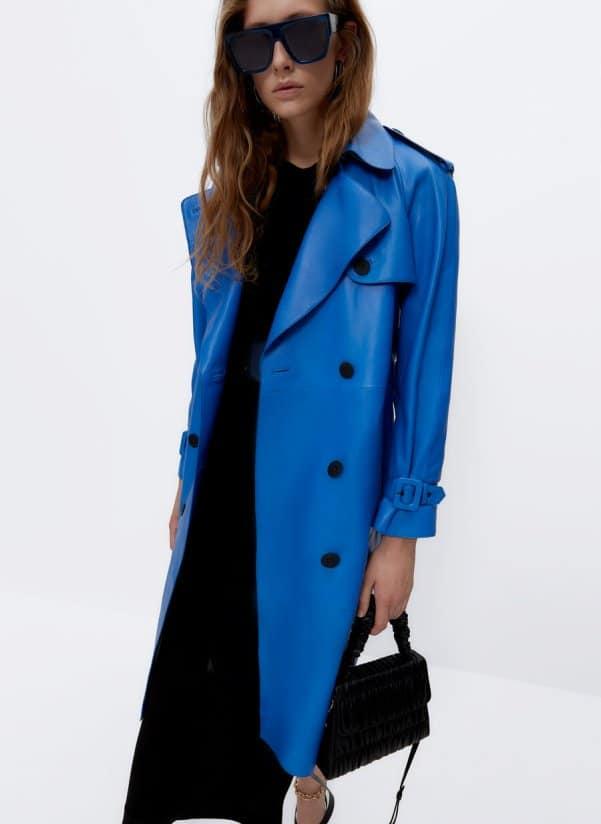 Blue leather trench coat Uterqüe