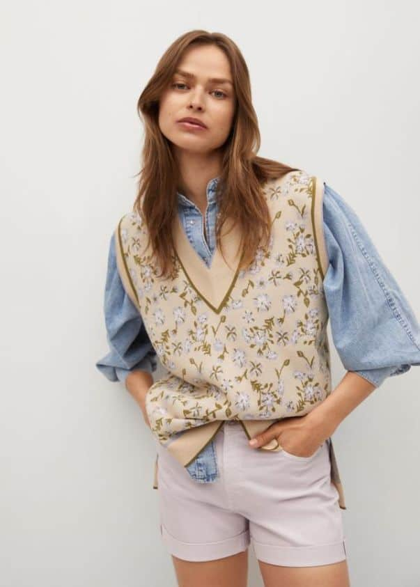 Floral Print Knitted Gilet Mango