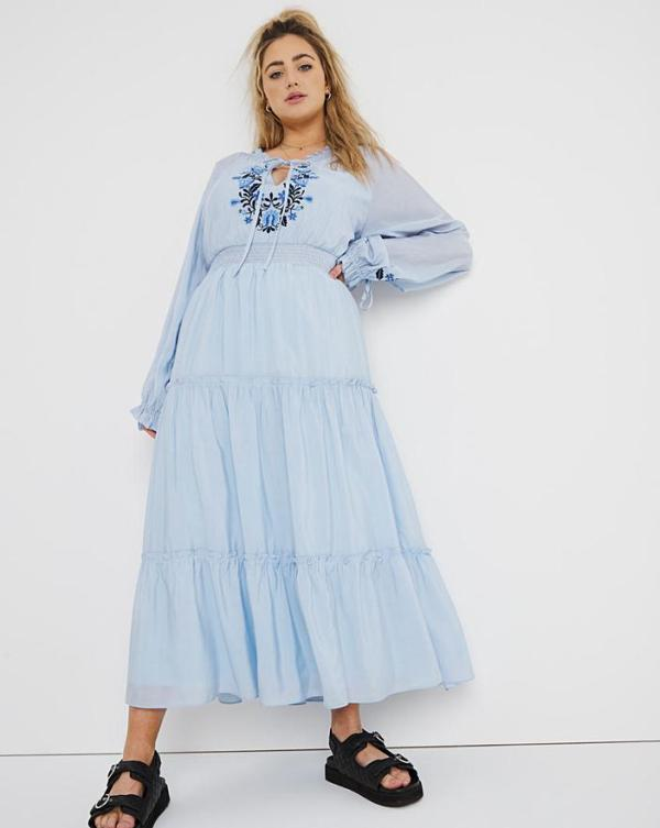 Simply Be Blue Embroidered Maxi Dress