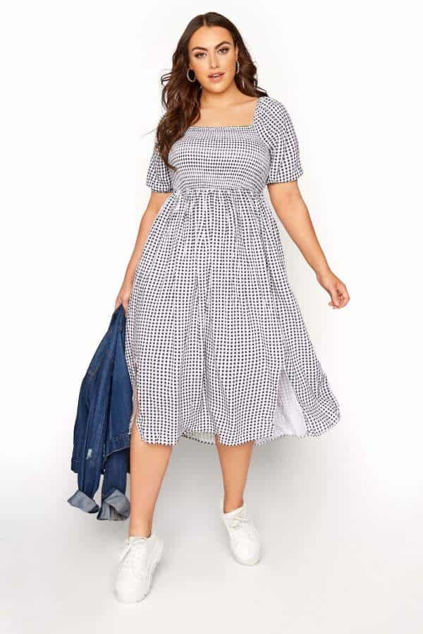 Yours Clothing Black Gingham Shirred Midaxi Dress