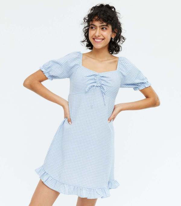 Blue Gingham Tie Front Frill Mini Dress new look
