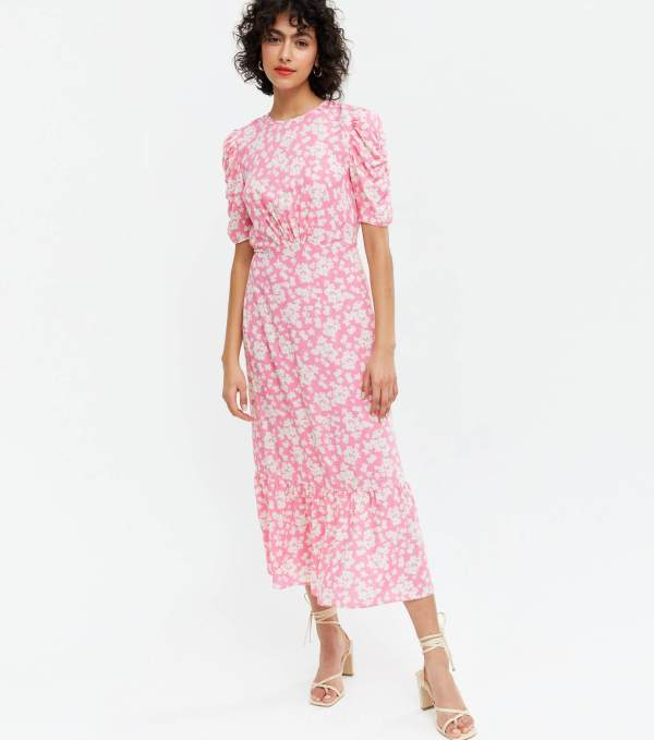 Pink Floral Ruched Puff Sleeve Midi Dress new look
