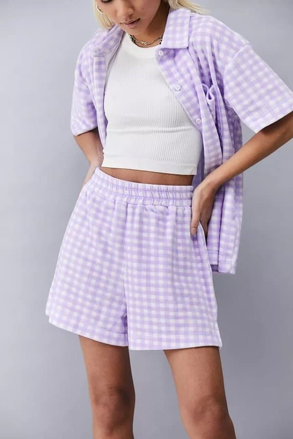 short and top co-ords - New Girl Order Lilac Gingham Towelling Shorts