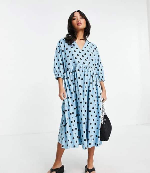 ASOS DESIGN Petite midi smock dress with wrap top in blue and black spot