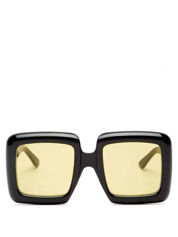 Black Oversized Square Acetate Sunglasses Gucci