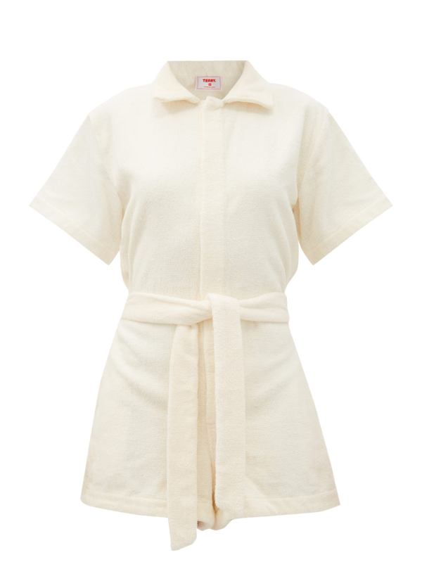 Yellow Il Pareo Belted Cotton-Terry Playsuit