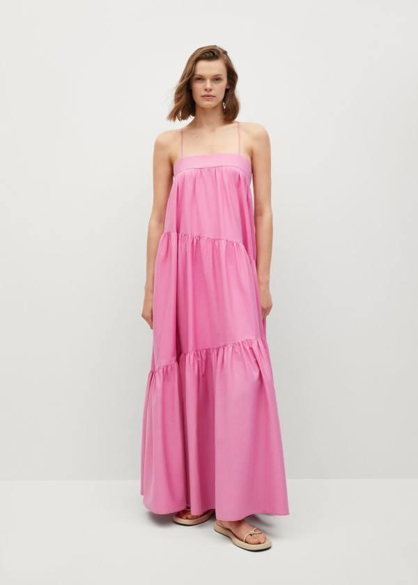 Mango Pink Maxi Ruffle Dress