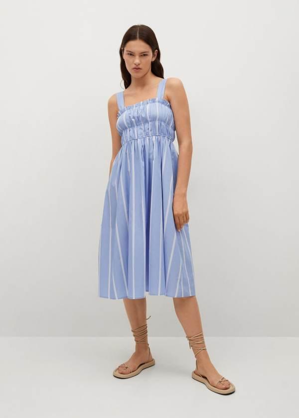 Mango Sky Blue Striped Cotton Dress