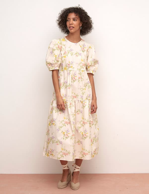Marks & Spencer Organic Cotton Floral Tiered Smock Dress