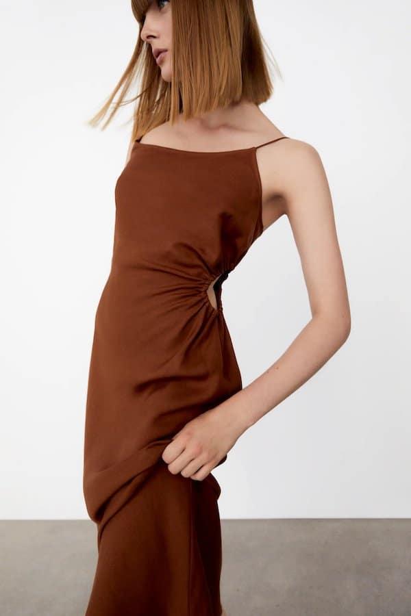 Zara Linen Blend Dress With Cut-out