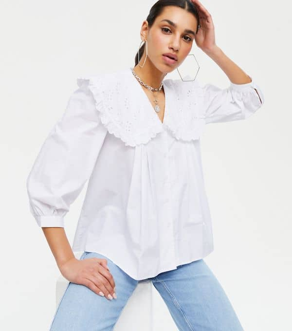 New Look White Broderie Collar Puff Sleeve Blous