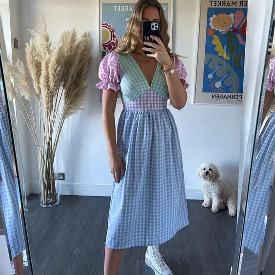 Karina Molby wearing gingham print pastel dress from Molby the label