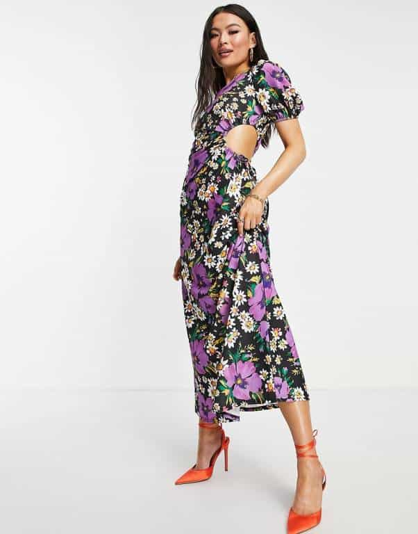 ASOS DESIGN one shoulder cut out detail maxi in bright purple floral print