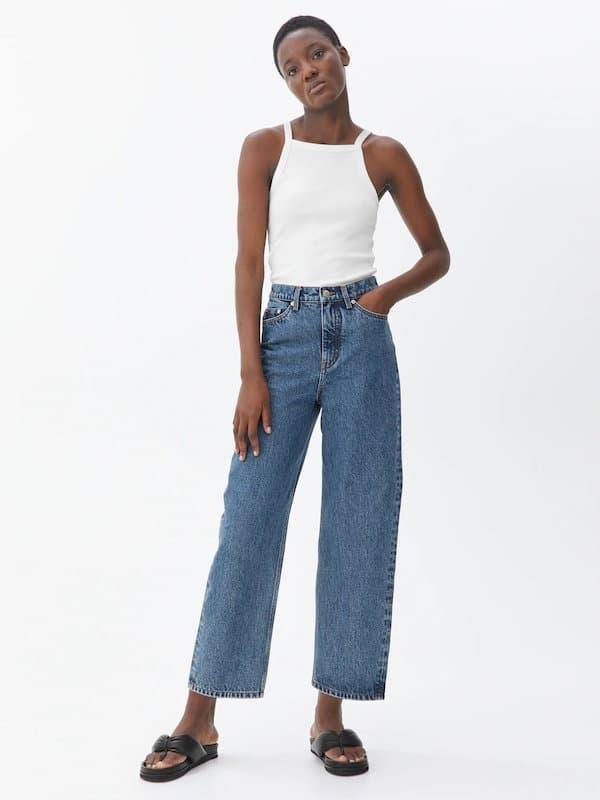 Barrel Leg Cropped Jeans