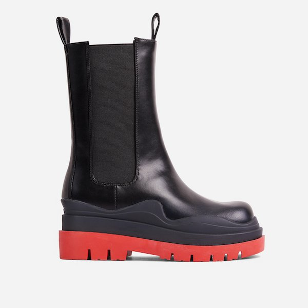 Energy Red Chunky Sole Ankle Chelsea Biker Boot Ego