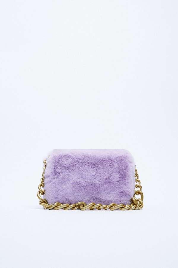 Zara Faux Fur Shoulder Bag With Chain