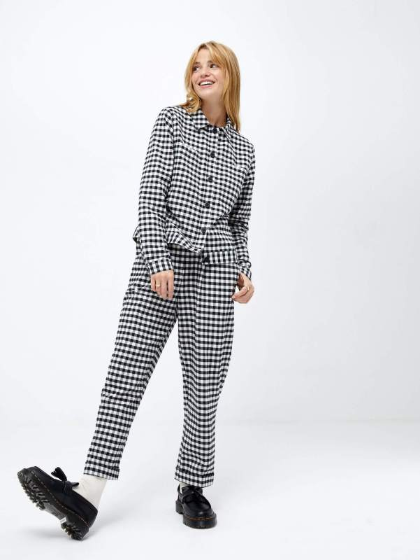 Mabel Straight Leg Trouser in Mono Gingham and Serena Button Front Shacket Overshirt in Mono Gingham Omnes