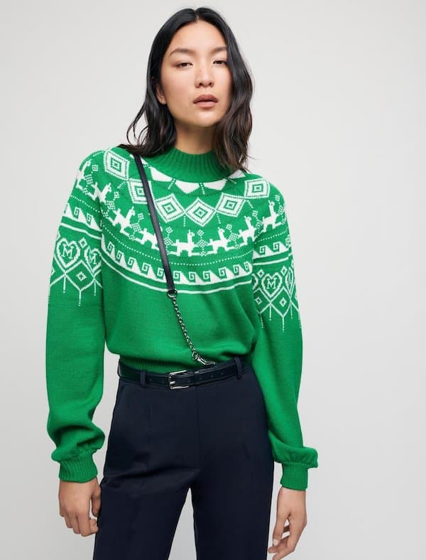 Jacquard Pullover with Stand-up Collar Maje