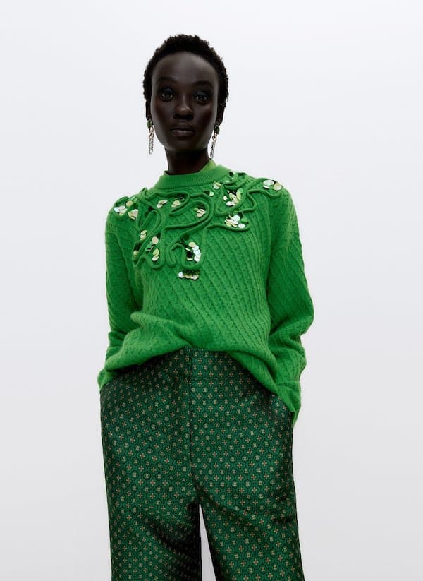 Sweater with Sequins and Trim Appliques Uterque