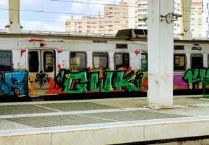 Graffiti on subway
