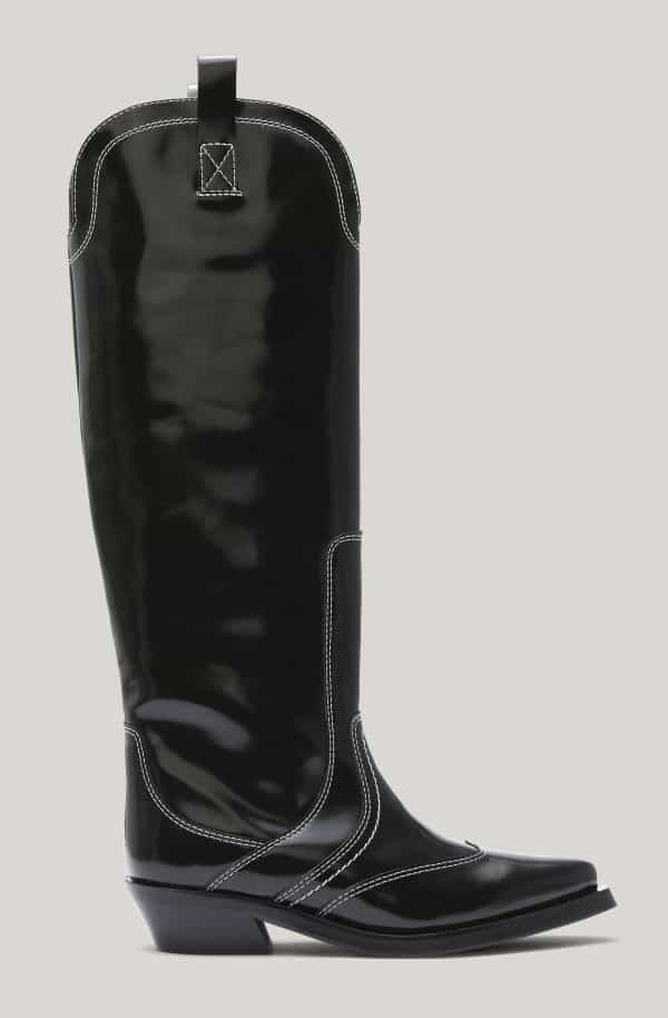 Leather Knee-High Western Boots, Leather, in colour Black - 1 - GANNI