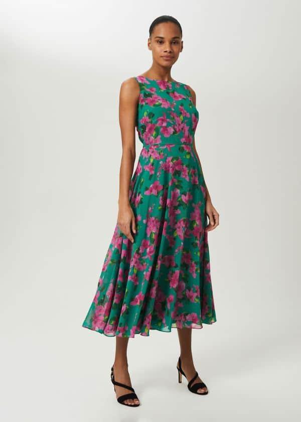 Petite Carly Dress, Fld Grn Fschia, hi-res