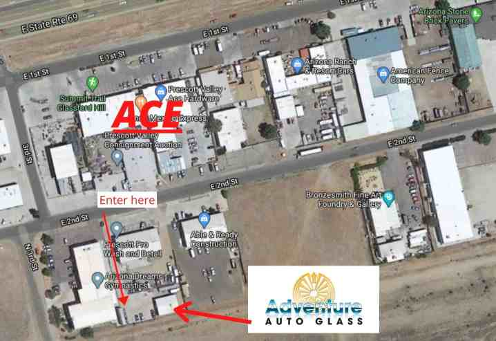 A map of our new location; 7205 E 2nd Street in Prescott Valley - the picture is an ariel view