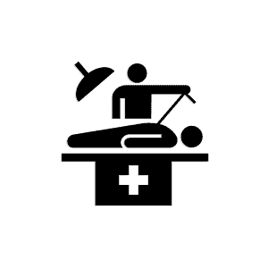 icon of a surgeon suturing a patient on an operating table