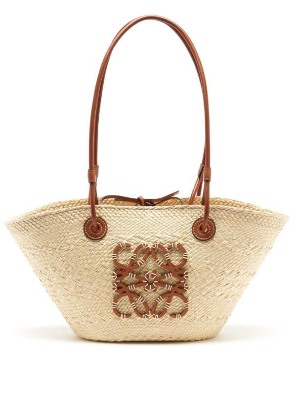 LOEWE PAULA'S IBIZA Anagram small iraca palm and leather basket bag