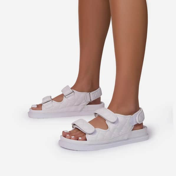 HYPED QUILTED DOUBLE STRAP FLAT DAD SANDAL IN WHITE FAUX LEATHER EGO